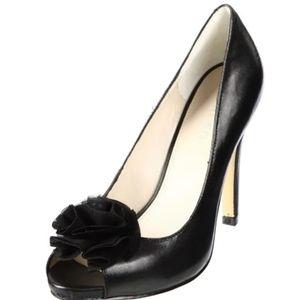 Nine West Excavate Black Leather Peep Toe Heels